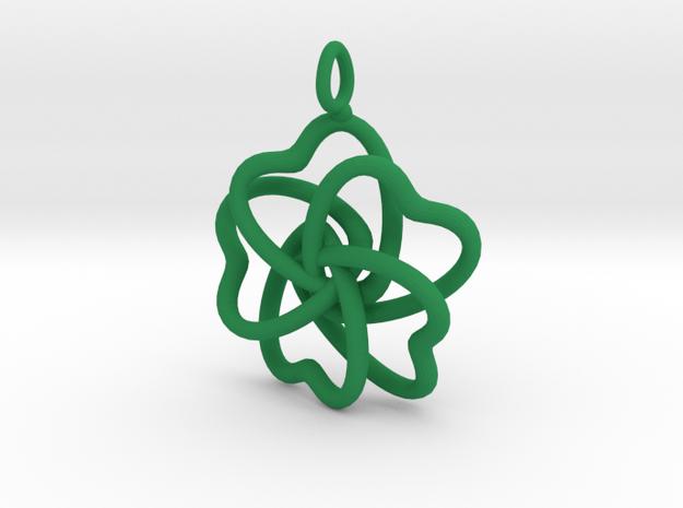 Heart Petals 5 Leaf Clover - 3.5cm - wLoopet in Green Processed Versatile Plastic