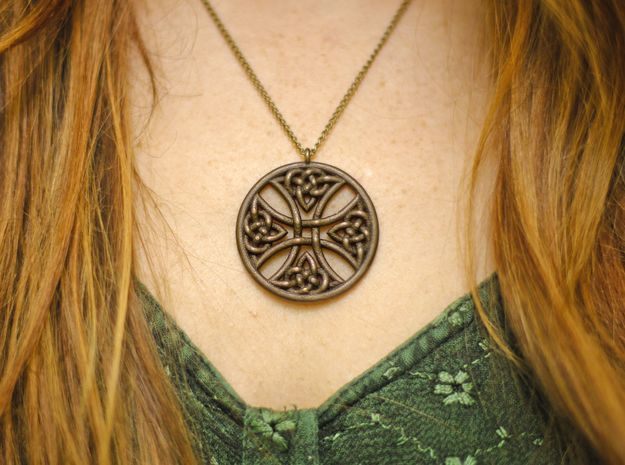 Round Celtic Cross Pendant 3d printed