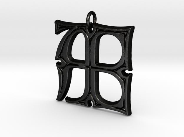 Monogram Initials AE Pendant  in Matte Black Steel
