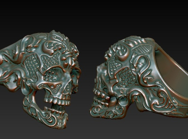 Filigree Skull Ring in Green Strong & Flexible Polished