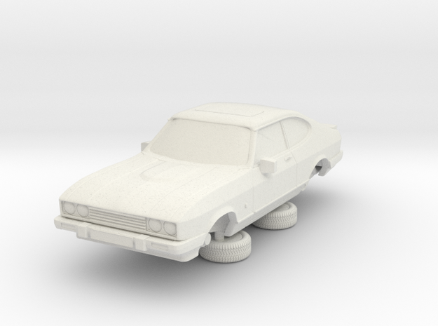 1-64 Ford Capri Mk3 3L in White Natural Versatile Plastic