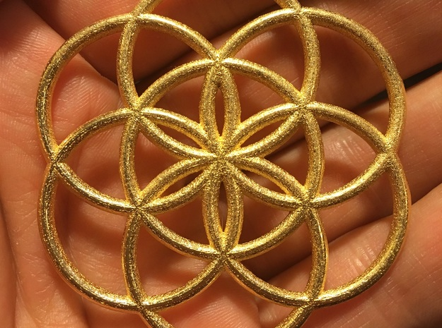 Flower of Life Seed Pendant in Polished Gold Steel