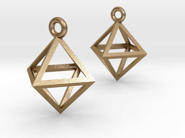 Octahedron Earrings pair in Polished Gold Steel