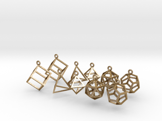 Platonic Earrings Set (5 pairs) in Polished Gold Steel