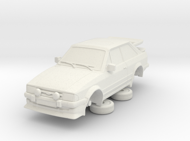 1-64 Ford Escort Mk3 2 Door Rs Turbo Whale Tail in White Natural Versatile Plastic
