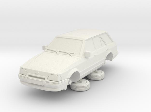 1-64 Ford Escort Mk4 4 Door Estate in White Natural Versatile Plastic