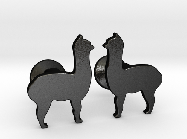 Llama Cufflinks in Matte Black Steel