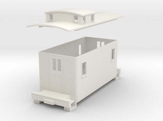 Sn3 20ft Caboose (low coppola)   in White Strong & Flexible