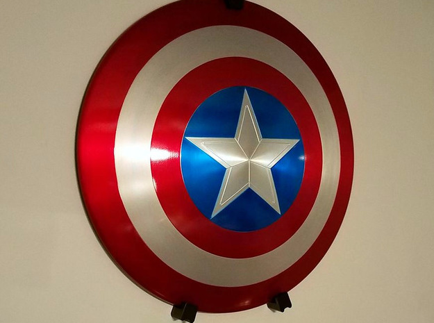 Captain America Shield Wall Mount Components in White Natural Versatile Plastic