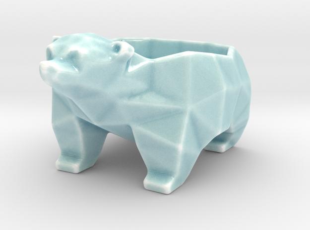 Bear-bowl in Gloss Celadon Green Porcelain