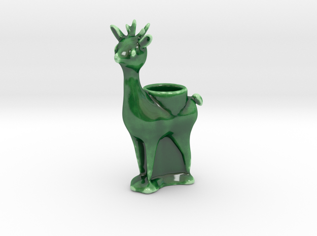 Reindeer Lumiere Tea Light Holder 1 in Gloss Oribe Green Porcelain
