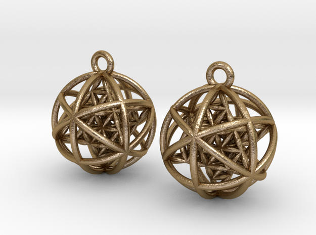"Flower of Life Planetary Merkaba Earrings 1"" in Polished Gold Steel"
