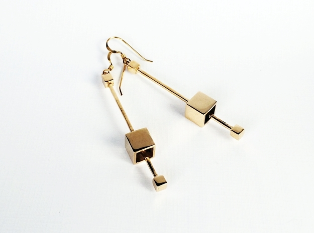 Dangling Cube Earrings - geometric jewelry