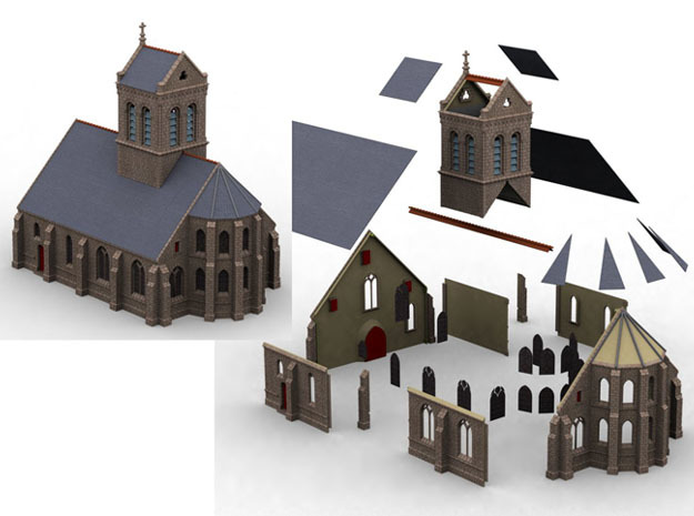 HORelM0112 - Gothic modular church in White Natural Versatile Plastic