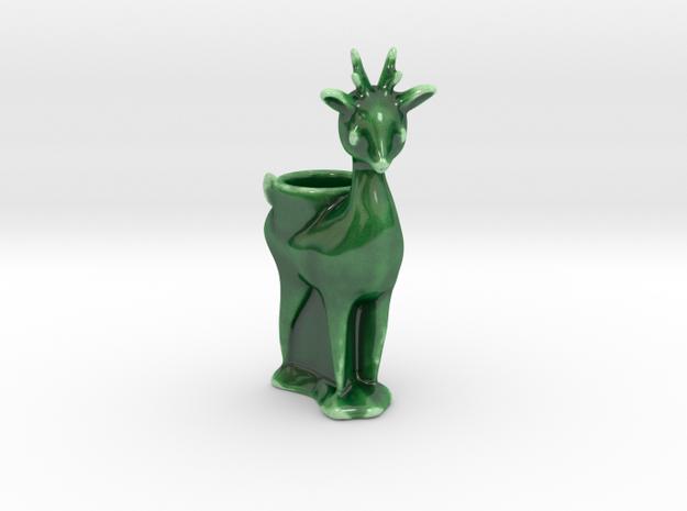 Reindeer Lumiere (tea light holder) 2 in Gloss Oribe Green Porcelain