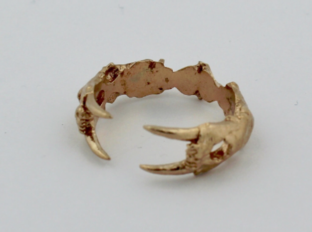 Saber-toothed Cat Ring in Natural Bronze