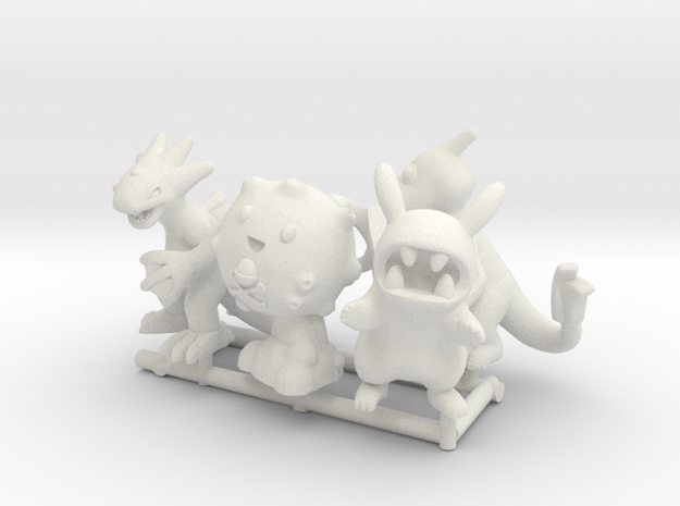 PokeFusion Minis - Set of 5 in White Natural Versatile Plastic