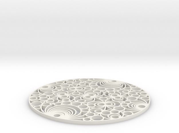 Gaussian Coaster in White Natural Versatile Plastic