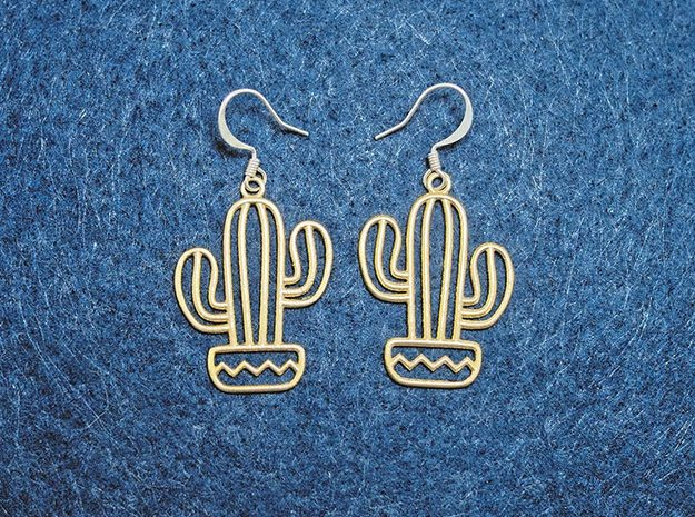 Cactus Arms Earrings in Natural Brass