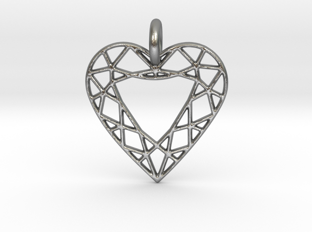 Heart Diamond Pendant in Natural Silver