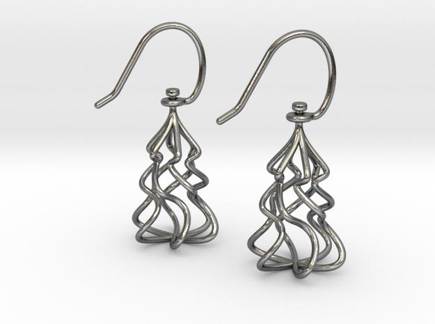Christmas Tree Twirl in Interlocking Polished Silver