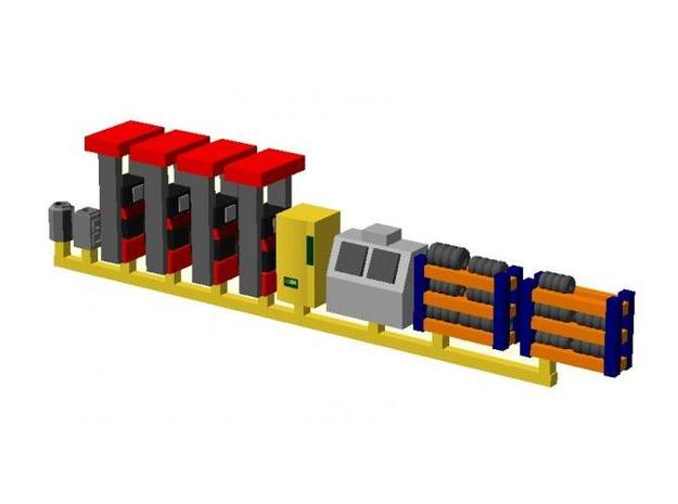 Modern Gas Station Accessories - Nscale in Smooth Fine Detail Plastic
