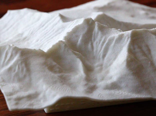 4'' Longs Peak Terrain Model, Colorado, USA in White Natural Versatile Plastic