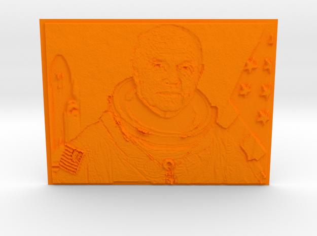 Embossed Image Of Late Astronaut/Senator John Glen in Orange Processed Versatile Plastic