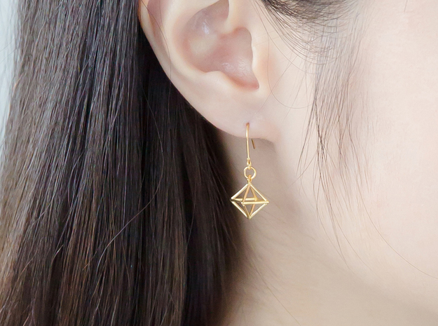 Diamond Earrings #S in 14k Gold Plated Brass