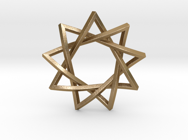 "9 Pointed Penrose Star 1.2"" in Polished Gold Steel"