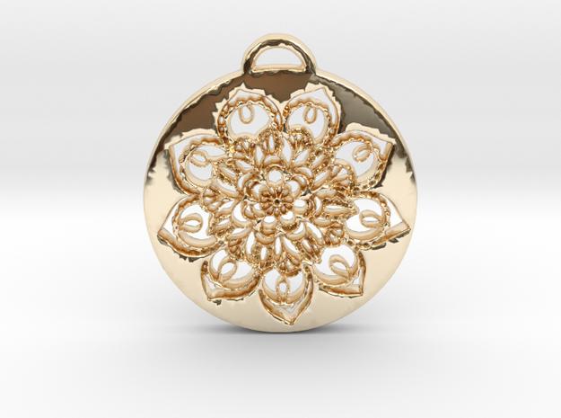 Flower Mandala Pendant in 14k Gold Plated Brass