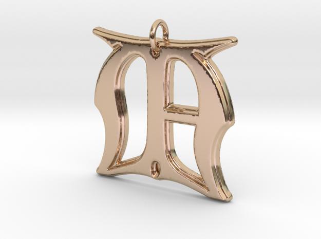 Monogram Initials MA Pendant  in 14k Rose Gold