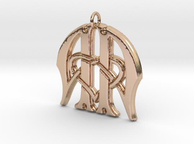 Monogram Initials AA.3 Pendant in 14k Rose Gold