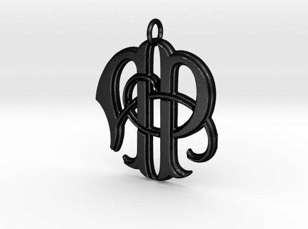 Monogram Initials AP Pendant  in Matte Black Steel
