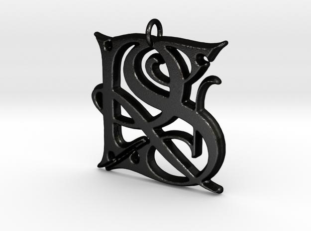 Monogram Initials RS Pendant  in Matte Black Steel