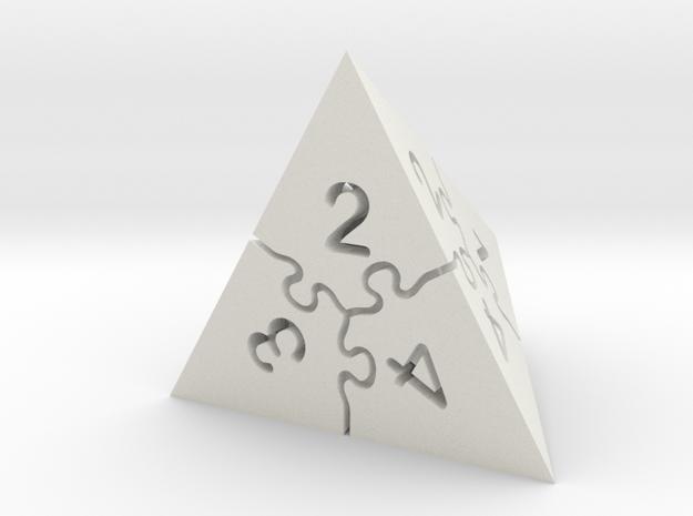 Jigsaw Puzzle D4 Dice in White Natural Versatile Plastic