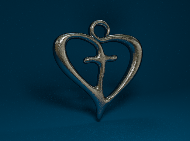 Cross My Heart Pendant 3d printed Stainless Steel Render
