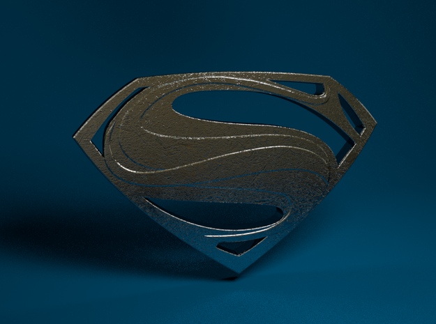 Man Of Steel - Double Sided in Polished Bronzed Silver Steel