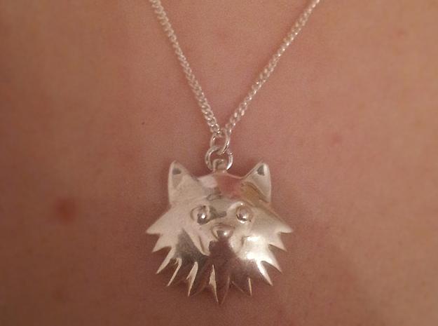 Finnish Lapphund pendant 3d printed Premium Silver