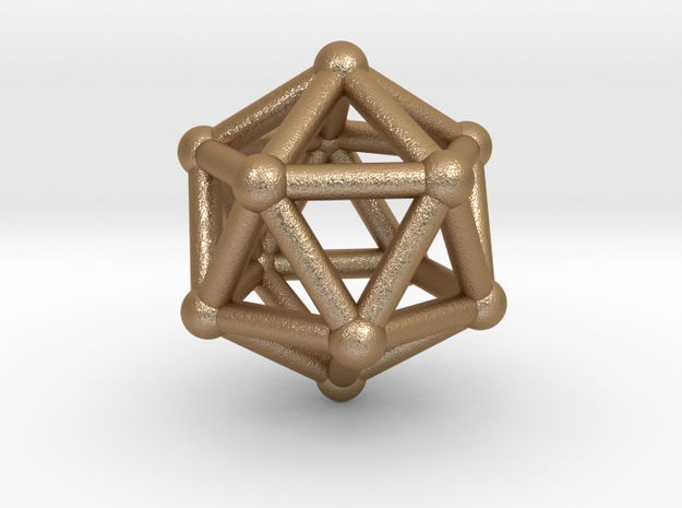 0602 Icosahedron V&E (a=10mm) #002 in Matte Gold Steel