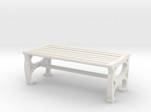 1:48 Park Bench in White Natural Versatile Plastic