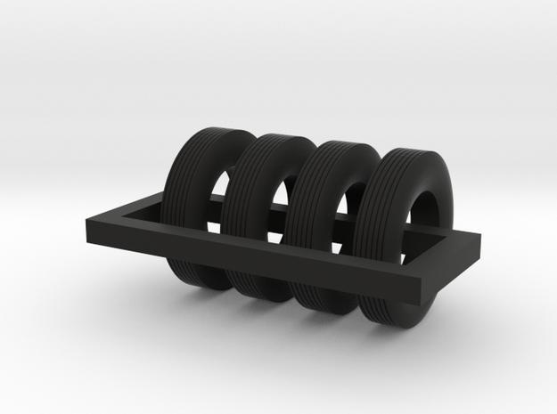 1/87 Street Tire X 4 in Black Natural Versatile Plastic