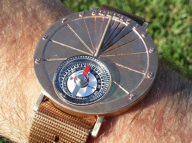 27.75N Sundial Wristwatch For Working Compass in Natural Bronze
