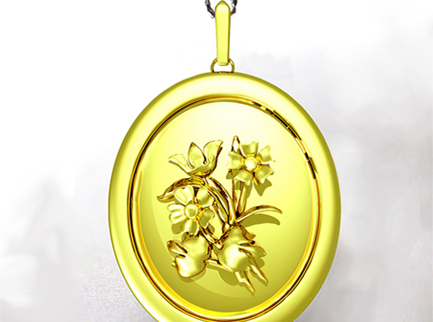 Beautiful Wild Flowers Pendant  in Polished Bronzed Silver Steel