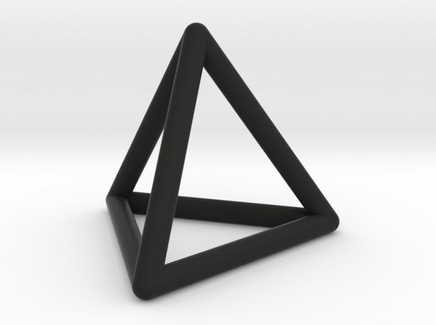 0592 Tetrahedron E (a=10-100mm) #001 in Black Natural Versatile Plastic: Small