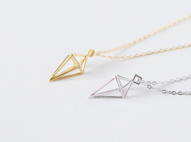 Geometric Necklace #L in Polished Silver