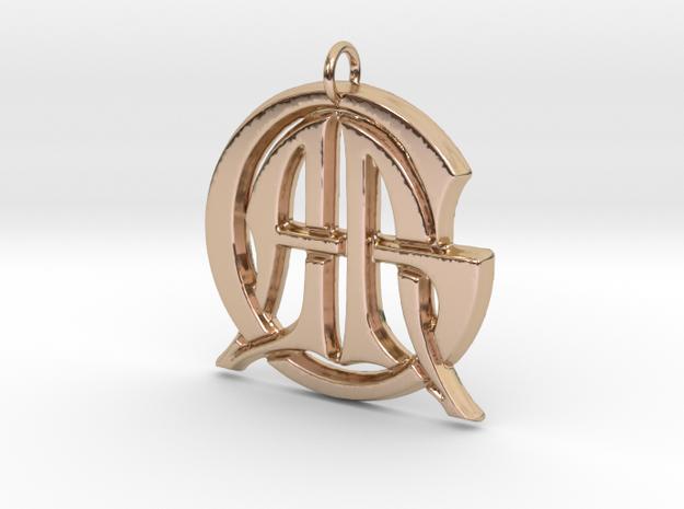 Monogram Initials AAG Pendant  in 14k Rose Gold