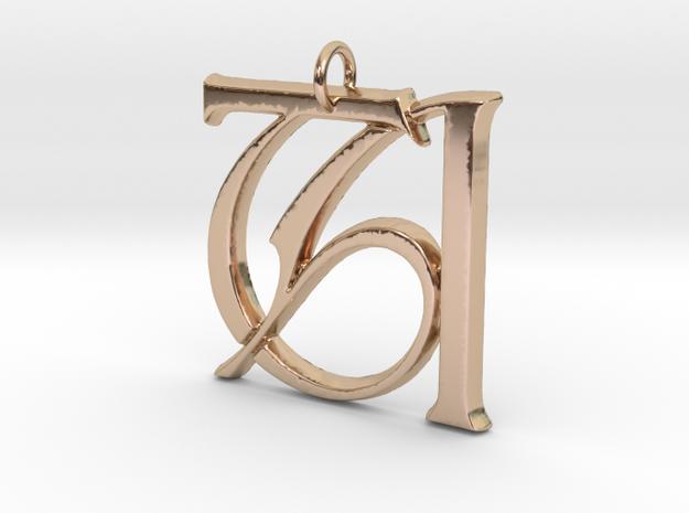 Monogram Initials TA Pendant  in 14k Rose Gold