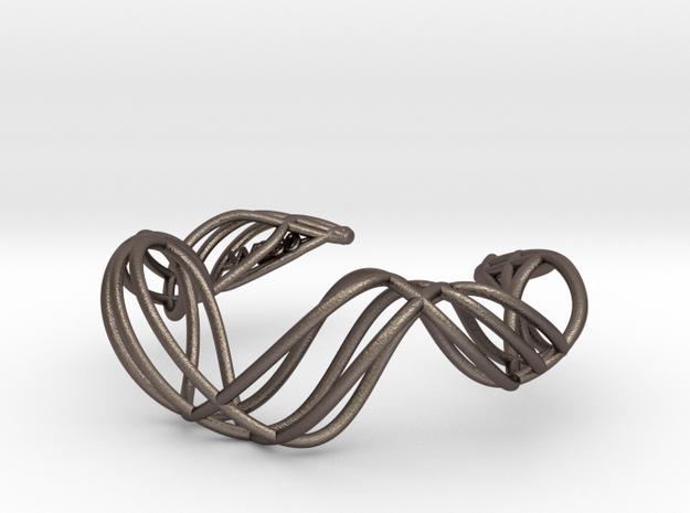 DNA  bracelet for her in Polished Bronzed Silver Steel