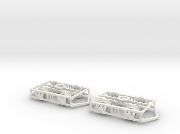 OO scale Lancaster Bogies With Ploughs And Wheels in White Natural Versatile Plastic